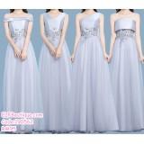 190562 Korean Grey High Waist Bridesmaid Evening Dinner Maxi Dress