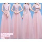 190563 Korean Pink High Waist Bridesmaid Evening Dinner Maxi Dress