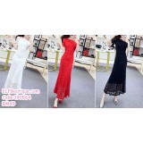 190564 Woman Round Neck Dinner Party Maxi Lacey Dress Black White Red