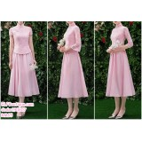 190607 Pink Chinese Style Cheongsam Bridesmaid Two Pieces Midi Dress Set