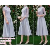 190608 Grey Chinese Style Cheongsam Bridesmaid Two Pieces Midi Dress Set