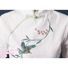 190613 Baby Girl Chinese Cheongsam Hanfu Retro Two Pieces Midi Dress Set Light Green Pink