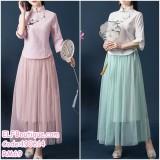 190614 Woman Chinese Hanfu Cheongsam Two Pieces Maxi Dress Set Custom Made