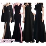 190615 Korean Woman Plain Evening Dinner Maxi Gown Dress Black