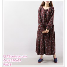 190619 Woman Cotton Long Sleeve Retro Floral Loose Plus Size Maxi Dress