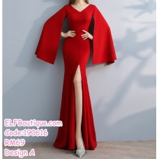 190616 Korean Woman Red Plain Evening Dinner Maxi Gown Dress