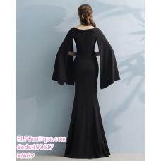 190617 Korean Woman V-neck Split Long Sleeve Maxi Dinner Evening Dress Gown
