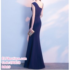 190618 Korean Woman Sleeveless Wrapped Fishtail Split Evening Dinner Maxi Gown