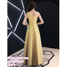 190620 Korean Woman Strap Big Swing Evening Dinner Maxi Gown Dress