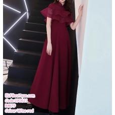190621 Korean Woman Ruffle Short Sleeve Evening Dinner Maxi Gown Dress