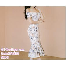 190622 Korean Woman Off-shoulder Floral Fishtail Evening Dinner Midi Gown Dress