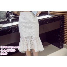 190624 Korean Woman Ribbon Tie Tube Top + Fishtail White Lacey Midi Dress Set