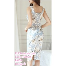 190625 Korean Woman Sleeveless Floral Evening Dinner Midi Dress White Light Blue