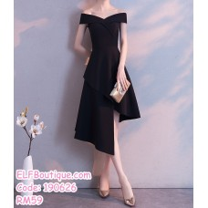 190626 Woman Off-shoulder Irregular Wrapped Evening Dinner Midi Dress Black Red