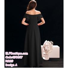 190627 Woman Black Long Evening Dinner Gown Dress