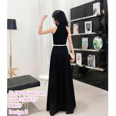 190627 Woman Black Long Evening Dinner Gown Dress
