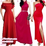 190629 Woman Red Long Evening Dinner Gown Dress