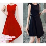 190633 Woman Sleeveless Ribbon Waist Wrapped Party Short Dress Black Red