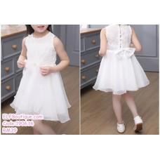 190636 Baby Girl Round Neck Sleeveless Ribbon Princess Dress Pink White