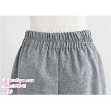 190641 Woman Plus Size L-5XL Short Sleeve Top + Short Elastic Pocket Pant Two Pieces Set