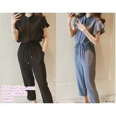 190642 Woman Plus Size M-4XL Round Neck Top+ Long Elastic Waist Pant Two Pieces Set