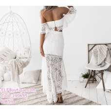 190645 Woman Off-shoulder Tube Top + Fishtail Lacey Midi Dress Set