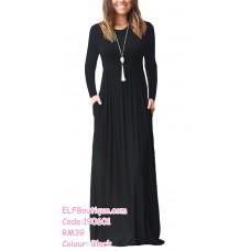 190601 European Round Neck Plain Long Dress