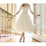 190707 European Woman White Off-shoulder Bridesmaid Dinner Evening Midi Dress
