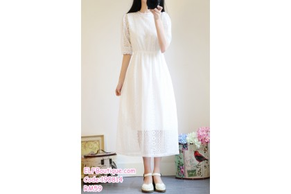 190814 READY STOCK Woman White Round Neck Half Sleeve Lacey Midi Dress