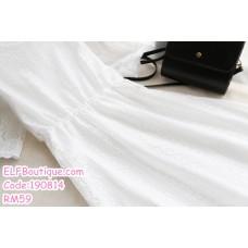 190814 READY STOCK Woman White Round Neck Half Sleeve Lacey Midi Dress
