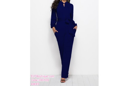 190709 Woman Long Sleeve Button Ribbon Tie Jumpsuit Palazzo