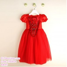 190804 European Baby Girl Cinderella Princess Dress Gown Blue Red