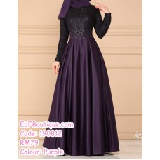 190812 Muslimah Plus Size Long Sleeve LaceyMaxi Dinner Evening Dress Gown