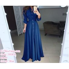 190816 Muslimah Plus Size Long Sleeve Collar Button Plain Maxi Dress