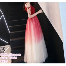 190809 Woman Strap Sleeves Gradient Dinner Evening Maxi Dress Black Red
