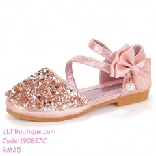 190817C Baby Girl Shiny Ribbon Princess Shoes