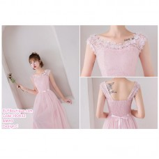 190432 Pink Bridesmaid Evening Dinner Maxi Dress