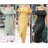 190845 Summer Lady Camisole Falbala Button casual midi dress Yellow/Green/Back