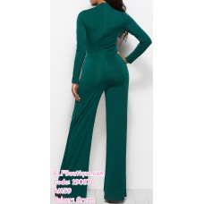 190870 Woman Round Neck Long Sleeve Elastic Plain Jumpsuit Palazzo