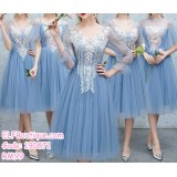 190871 Blue Bridesmaid Sister Dinner Evening Midi Gown Dress 9106
