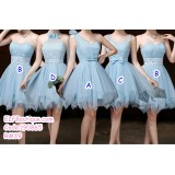 190865 Sky-blue Bridesmaid Dress Sister Dinner Gown Party Dress Premium