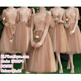 190874 Khaki Bridesmaid Sister Dinner Evening Midi Gown Dress