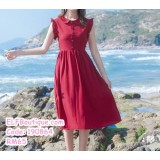 190864 French Style Wine Red Ruffle Sleeves High Waist Button Casual Chiffon Dress