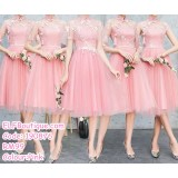 190876 Cheongsam Bridesmaid Sister Dinner Evening Midi Dress Pink