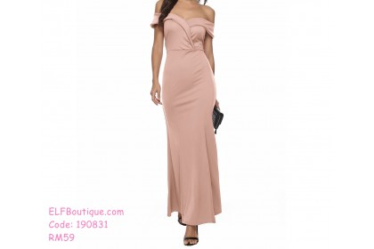 190831 Bridesmaid Dinner Gown Off-shoulder Party Maxi Dress /Royal Blue/Wine Red/ Champagne Pink