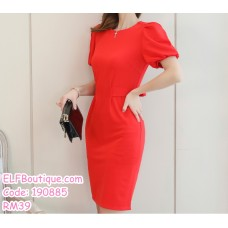 190885 Woman Round Neck Bubble Sleeve Ribbon Waist Mini Short Dress Navy Red Yellow