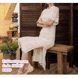190867 Summer White Embroidery Cheongsam Chinese Style short Sleeve Dress