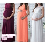 190868 European Woman Lacey Maternity round neck maxi dinner dress white/wine red/pink