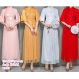 190839 Chinese style Bell Sleeve Tulle  Bridesmade Dinner Party Costume Red/ Pink/ Grey/ Gold