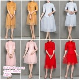 190906 Narrow sleeve Chinese style Tulle  Bridesmade Dinner Party Costume Red/ Pink/ Grey/ Gold